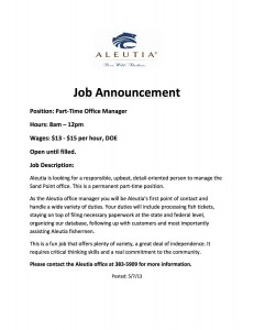 Sand Point Office Manager Posting (1)